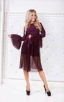 Интересное  платье со съемной накидкой из гипюра