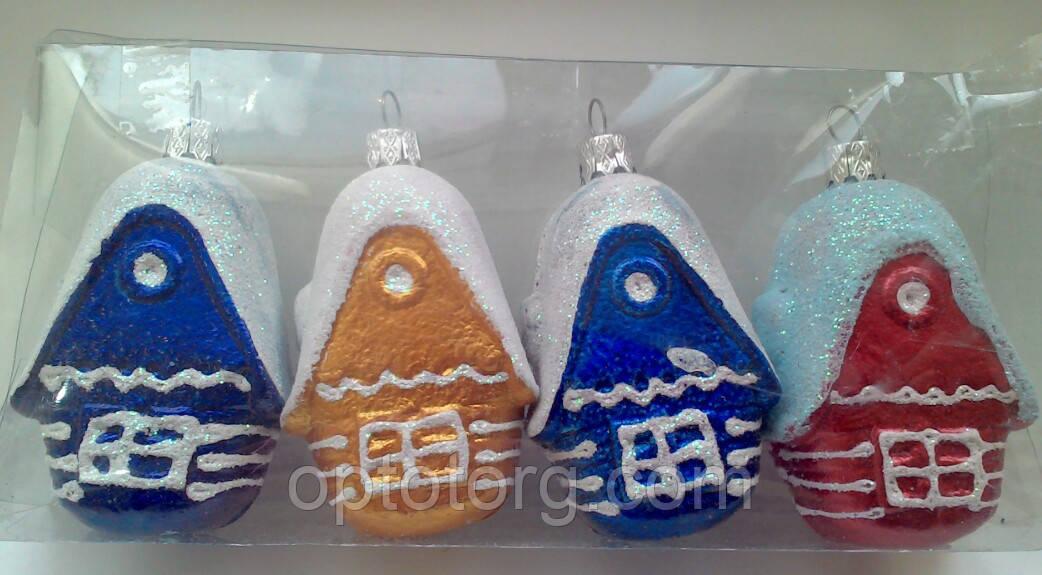 Новогодние украшения на елку  Домики набор  4 штуки  размер 8*4,5 см