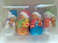 Новогодние украшения на елку Набор снеговики 4 штуки  размер 11*5,5  см