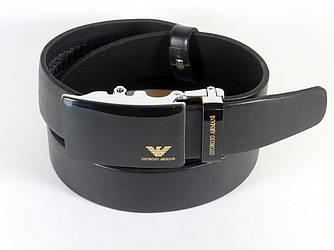 Ремень мужской кожаный GIORGIO ARMANI 3,5см (пряжкой автомат) ремень АРМАНИ под брюки ЧЕРНЫЙ (реплика)