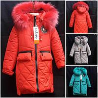 Детская курточка для девочки на овчине с красивым декором
