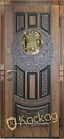 Двери входные металлические Круг со стеклом и ковкой, фото 1