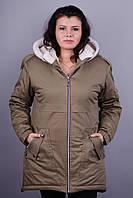 Зара. Куртка больших размеров для женщин. Хаки.