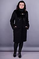 Фрау. Красивое пальто больших размеров для женщин. Черный.