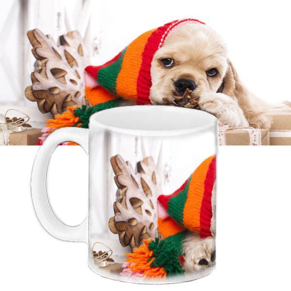 Кружка подарок с принтом Новый год милая собачка