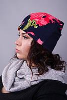 Фэшн. Женская шапка. Синий с цветком.
