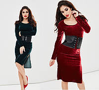Женское бархатное платье с разрезом +корсет в подарок