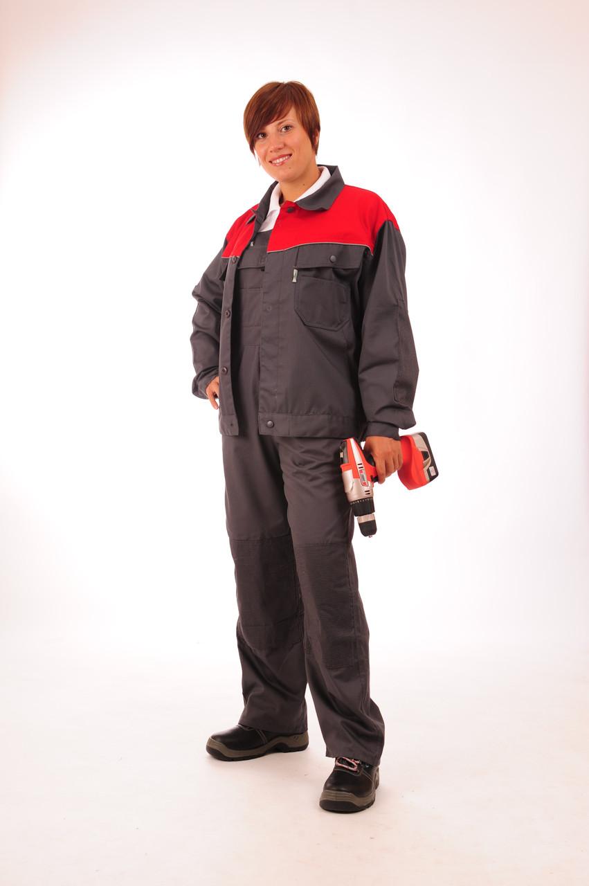 Куртка Строитель серо-красная