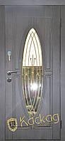 Двери входные металлические Лотос со стеклом и ковкой, фото 1