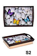 Поднос с ручками Бабочки на камнях (s2)