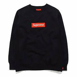 Свитшот Supreme  Чёрный | Вышитый Box Logo