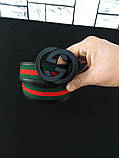Пояс GUCCI D2418 черно-зеленый, фото 3