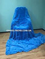 Ворсистое покривало Євро розміру East Comfort синього кольору