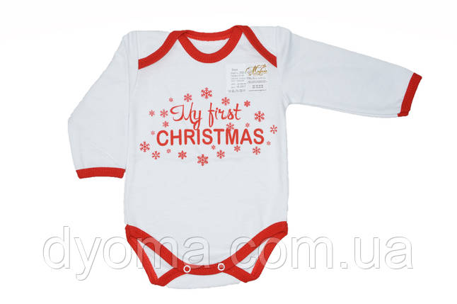 """Детский новогодний боди """"My first Christmas"""" для новорожденных, фото 2"""