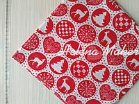 Отрез новогодней ткани Новогодние шары на красном 50*50 см