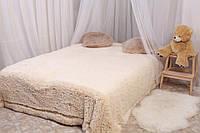 Ворсистое молочне покривало на ліжко євро розміру