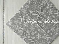 Отрез новогодней ткани Снежинки на сером 50*50 см