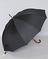 Зонт-трость черного цвета с деревянной ручкой