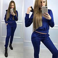Замшевый женский спортивный костюм с капюшоном 735144 электрик, 42