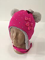 Тёплая шапка бантики на меху р.48-50