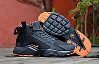 Кроссовки мужские Huarache X Acronym City MID Leather D2427 черные зимние