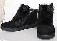 Теплые ботиночки с ушками и мехом кролика