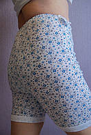 Трусы женские панталоны хлопковые длинные голубые цветочки