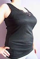 Майка женская хлопковая черная со вставкой