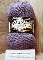 Полушерстяная пряжа (25%-шерсть, 75%-акрил, 100 г/ 280 м) Alize Superlana Klasik 312(грязная роза)