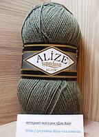 Полушерстяная пряжа (25%-шерсть, 75%-акрил, 100 г/ 280 м) Alize Superlana Klasik 696 (св.хаки)