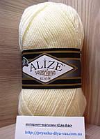 Полушерстяная пряжа (25%-шерсть, 75%-акрил, 100 г/ 280 м) Alize Superlana Klasik 01 (кремовый)