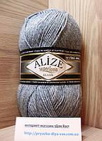 Полушерстяная пряжа (25%-шерсть, 75%-акрил, 100 г/ 280 м) Alize Superlana Klasik 21(серый меланж)