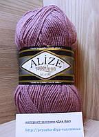 Полушерстяная пряжа (25%-шерсть, 75%-акрил, 100 г/ 280 м) Alize Superlana Klasik 679(вялая роза)