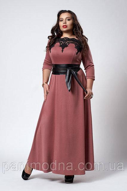 Женское Платье с ажурными вставками  из трикотажа-  код 540