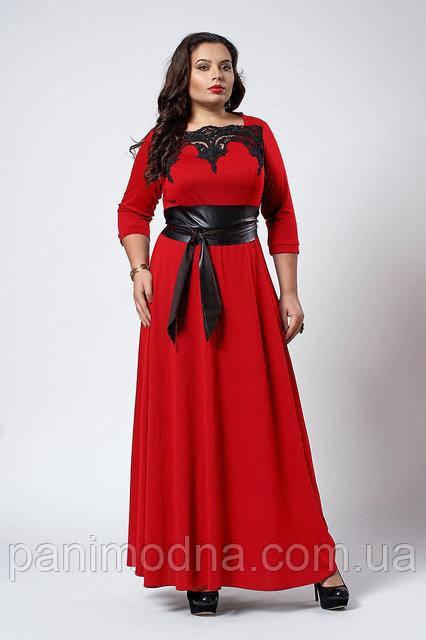 Модное красное трикотажное платье  -  код 540