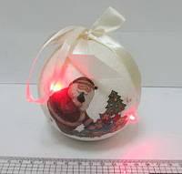 "Шарновогодний,белый глиттер + глянец ""Дед Мороз с подарками"" 1 шт.100 мм 5 LED"