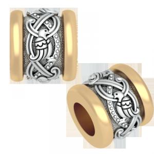 РАЙСКИЕ ПТИЦЫ. Православная бусина шарм, серебро