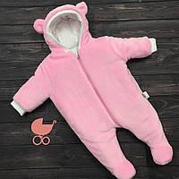 """Махровый утепленный комбинезон  """"Furry Bear"""" розовый, размеры 0-3 и 3-6 мес"""
