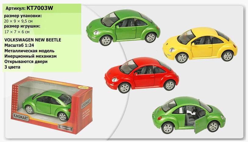 "Мелаллическая машинка Kinsmart KT7003W ""Volkswagen New Beetle"""