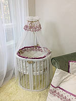"""Комплект постельного белья из сатина в круглую и овальную кроватку  """"Ricci"""" свекольный"""