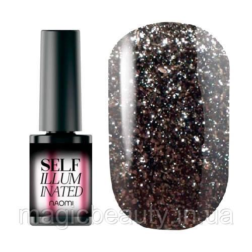 Гель-лак Naomi Self Illuminated SI 01 черный с блестками и слюдой, 6 мл