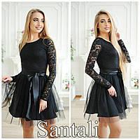 Черное платье из гипюра с фатиновой юбкой солнцем 63374