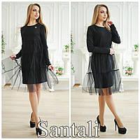 Черное платье из дайвинга с фатином на юбке 63377