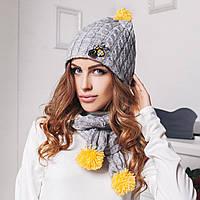Женский шарф и шапка с помпоном