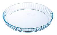 Форма стеклянная рефленная круглая с ручками для запекания Pyrex B&E 26х23см 1,3л 198B000