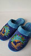 Тапочки женские  Белста махра синие колокольчики (36-40р)