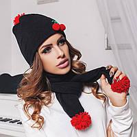 Женский комплект шапка и шарф ангора на флисе