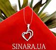 Серебряная подвеска кулон Два сердца, фото 4