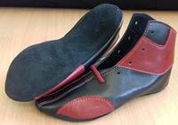 Борцовки кожаные низкие черные с красными вставками