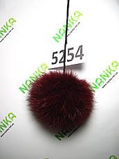 Меховой помпон Кролик, Бордовый, 8 см, 5254, фото 2